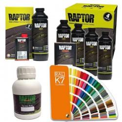 Peinture en 500ml pour Raptor Liner + 1 kit + 1 Lot de Raptor Liner Teintable